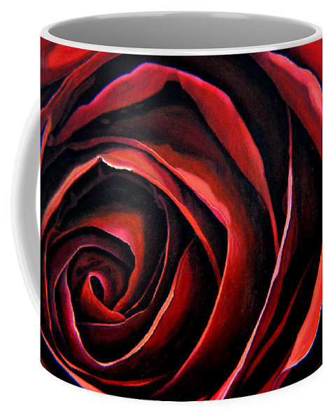 Red Rose Coffee Mug featuring the painting January Rose by Thu Nguyen