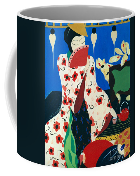 #japanese Coffee Mug featuring the painting Japanese Tea by Jacquelinemari