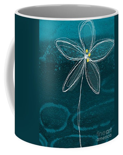 Abstract Coffee Mug featuring the painting Jasmine Flower by Linda Woods