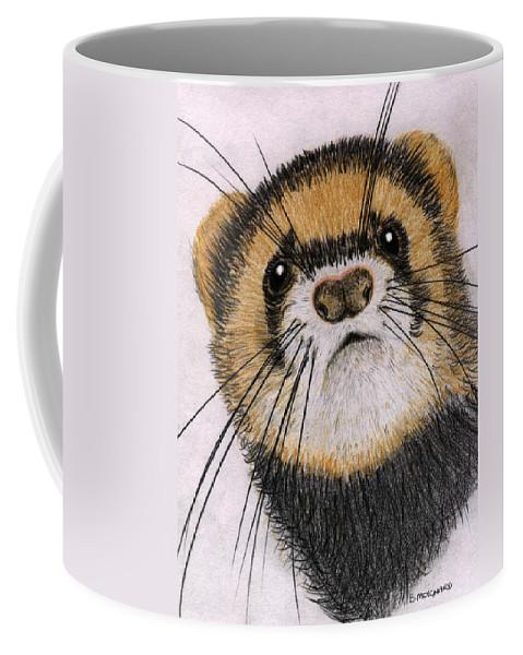 Ferret Coffee Mug featuring the drawing Jasper by Barbara Moignard