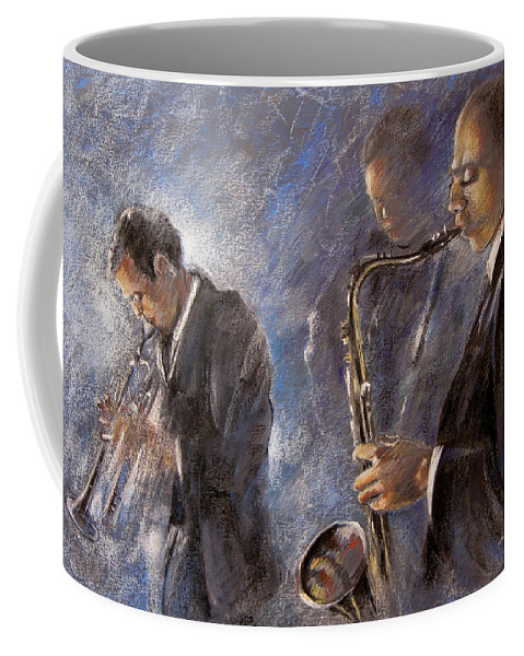 Jazz Coffee Mug featuring the painting Jazz 01 by Miki De Goodaboom