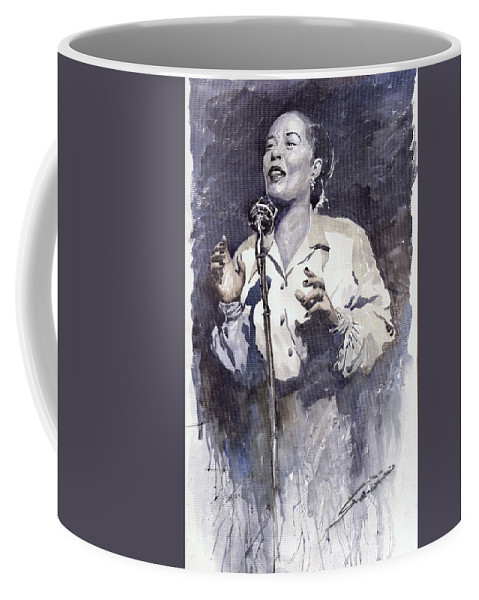 Billie Holiday Coffee Mug featuring the painting Jazz Billie Holiday Lady Sings The Blues by Yuriy Shevchuk
