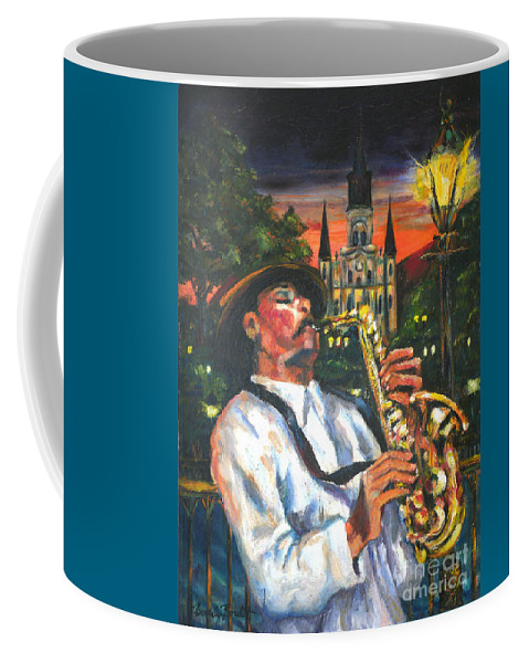 Jazz Coffee Mug featuring the painting Jazz By Street Lamp by Beverly Boulet