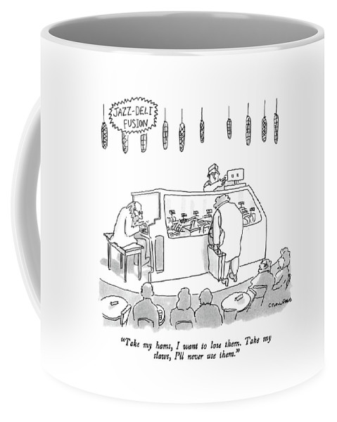 Pianist Coffee Mug featuring the drawing Jazz-deli Fusion Take My Hams by Michael Crawford