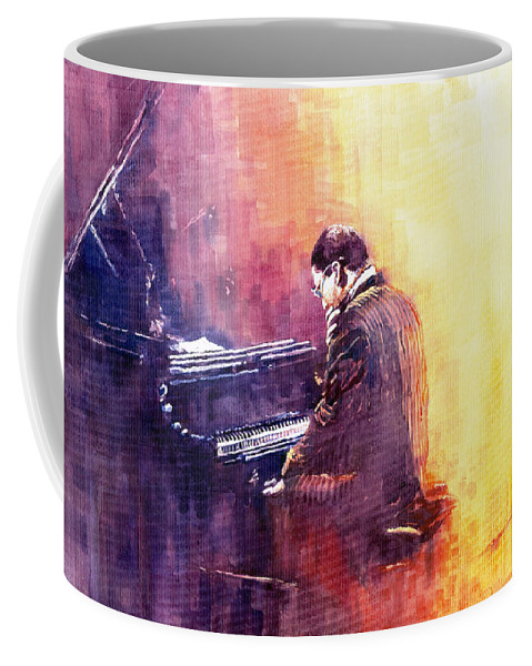 Jazz Coffee Mug featuring the painting Jazz Herbie Hancock by Yuriy Shevchuk