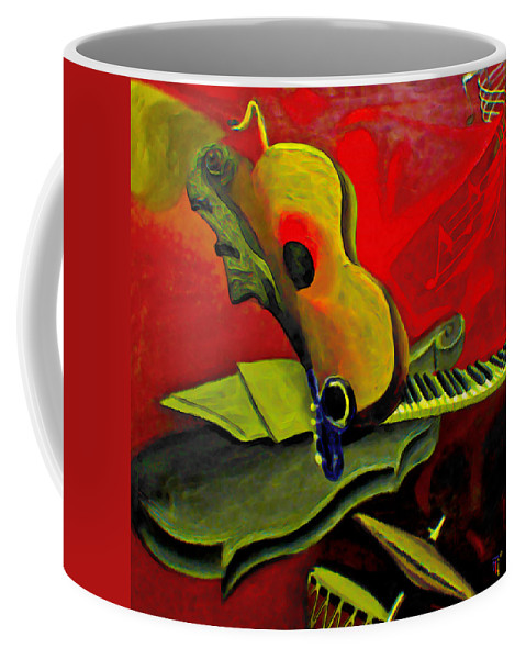 Abstract Coffee Mug featuring the painting Jazz Infusion by Fli Art