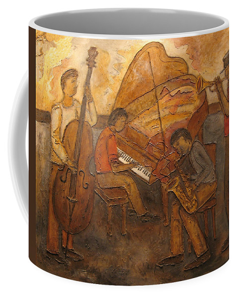 Impressionist Coffee Mug featuring the painting Jazz Quartet by Anita Burgermeister