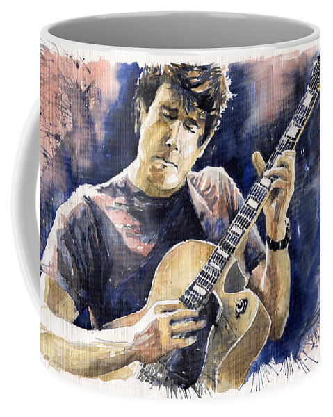 Gutarist Coffee Mug featuring the painting Jazz Rock John Mayer 06 by Yuriy Shevchuk