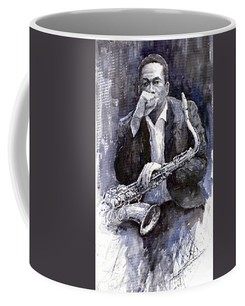 Jazz Coffee Mug featuring the painting Jazz Saxophonist John Coltrane Black by Yuriy Shevchuk
