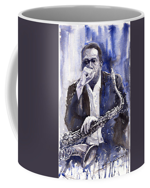 Jazz Coffee Mug featuring the painting Jazz Saxophonist John Coltrane Blue by Yuriy Shevchuk