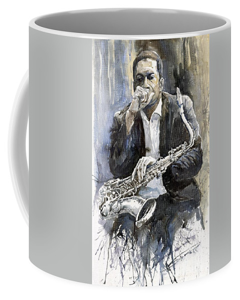 Jazz Coffee Mug featuring the painting Jazz Saxophonist John Coltrane yellow by Yuriy Shevchuk