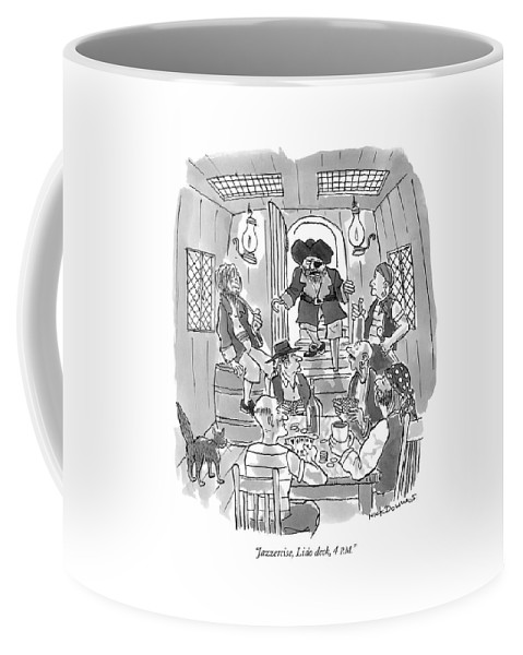 Jazzercise Coffee Mug featuring the drawing Jazzercise, Lido Deck, 4 P.m by Nick Downes