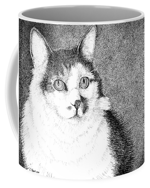 Cat Coffee Mug featuring the drawing Jazzie by Lawrence Tripoli