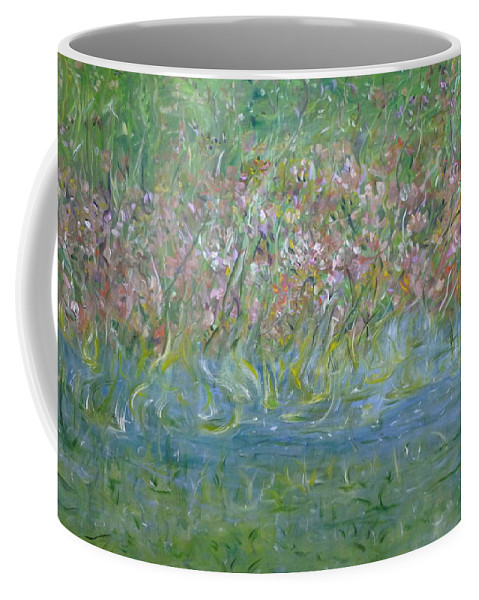 Whimsical Landscape Scene Coffee Mug featuring the painting je t'aime Monet by Sara Credito