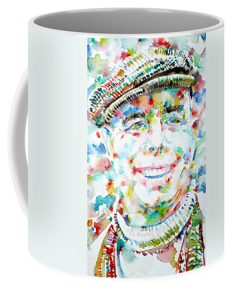 Renoir Coffee Mug featuring the painting Jean Renoir Watercolor Portrait by Fabrizio Cassetta