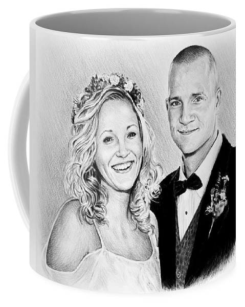 Commissions Coffee Mug featuring the drawing Jeff And Anna by Andrew Read