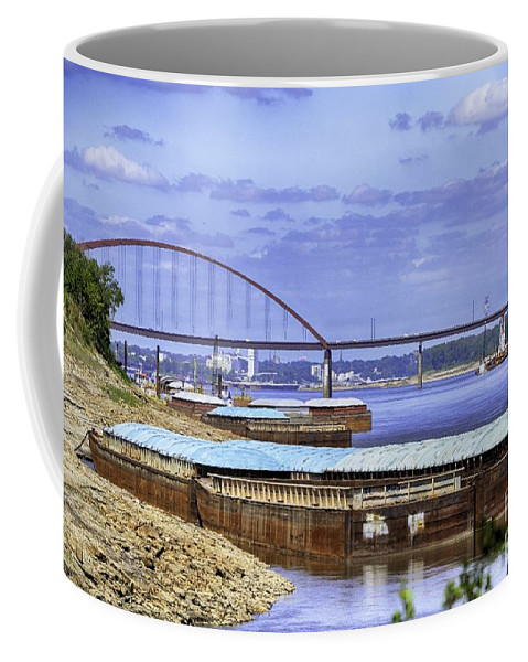 St Louis Picture Coffee Mug featuring the photograph Jefferson Barracks Bridge A View From Cliff Cave by Peggy Franz