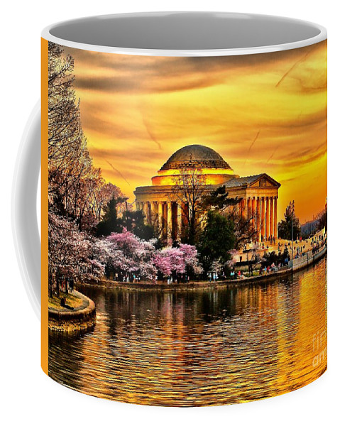 Jefferson Coffee Mug featuring the photograph Jefferson Memorial Sunset by Nick Zelinsky