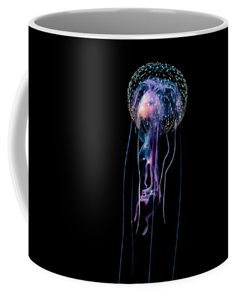View Coffee Mug featuring the photograph Jellyfish Pelagia Noctiluca With Fish by Thomas Kline