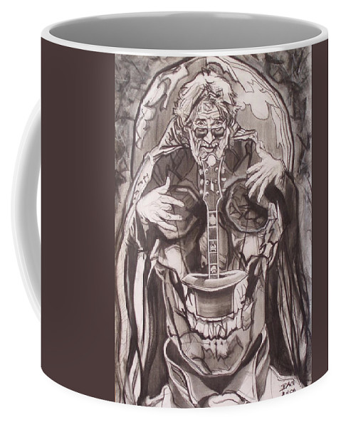 Charcoal Coffee Mug featuring the drawing Jerry Garcia . . Magic Is What We Do - Music Is How We Do It by Sean Connolly