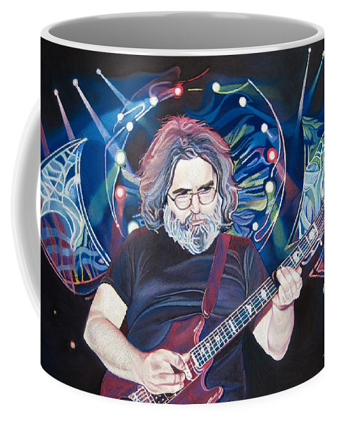 Jerry Garcia Coffee Mug featuring the drawing Jerry Garcia And Lights by Joshua Morton