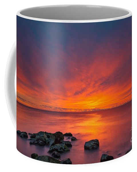 Fire In The Sky Coffee Mug featuring the photograph Jersey Shores Fire In The Sky Version 2 by Michael Ver Sprill
