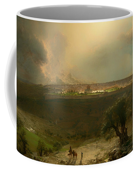 Painting Coffee Mug featuring the painting Jerusalem From The Mount Of Olives by Mountain Dreams