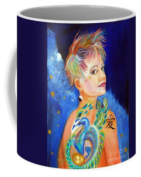Green Peacock Coffee Mug featuring the painting Jesskya 3 by To-Tam Gerwe