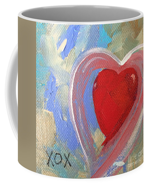 Jewel Coffee Mug featuring the painting Jewel Heart by Robin Maria Pedrero