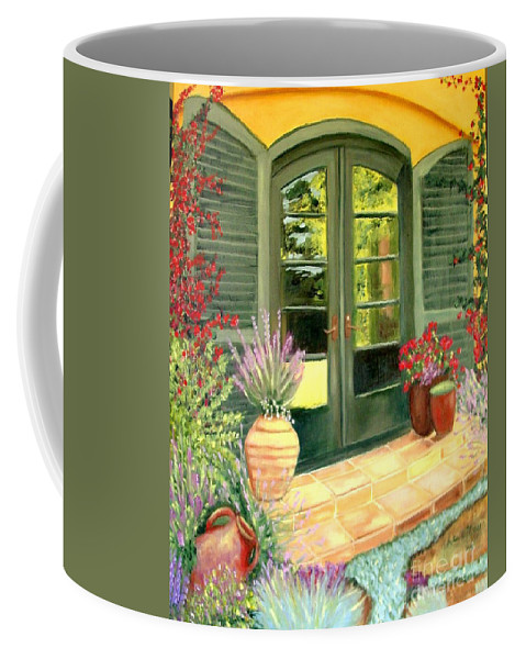 Shutters Coffee Mug featuring the painting Jill's Patio by Laurie Morgan