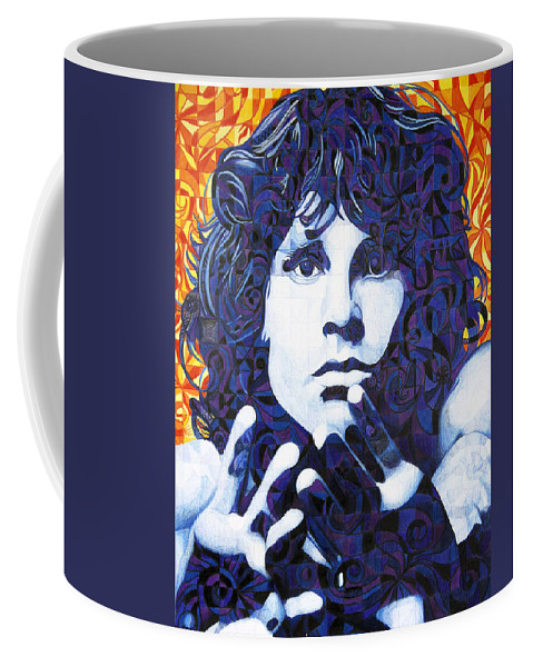 Jim Morrison Coffee Mug featuring the drawing Jim Morrison Chuck Close Style by Joshua Morton