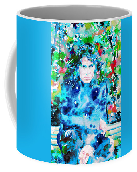 Doors Coffee Mug featuring the painting Jim Morrison Watercolor Portrait.3 by Fabrizio Cassetta