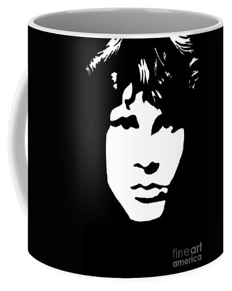 Black White Coffee Mug featuring the drawing Jim Morrison by Yael Rosen