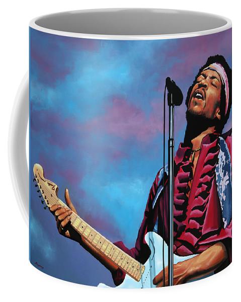 Jimi Hendrix Coffee Mug featuring the painting Jimi Hendrix 2 by Paul Meijering