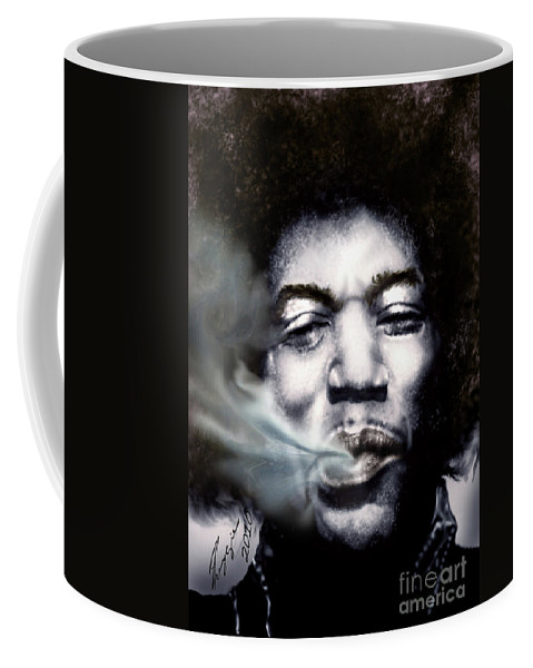 Jimi Hendrix Coffee Mug featuring the painting Jimi Hendrix-burning Lights-2 by Reggie Duffie