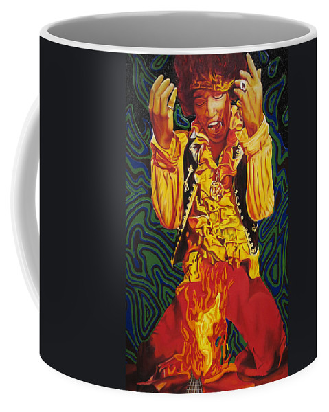 Jimi Hendrix Coffee Mug featuring the painting Jimi Hendrix Fire by Joshua Morton