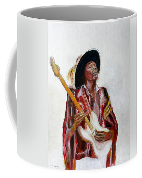 Jimi Hendrix Coffee Mug featuring the painting Jimi by Tom Conway
