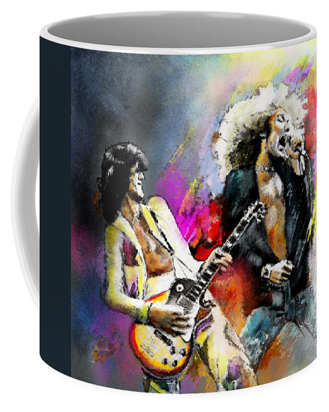 Musicians Coffee Mug featuring the painting Jimmy Page And Robert Plant Led Zeppelin by Miki De Goodaboom