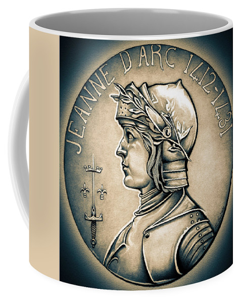 Coin Coffee Mug featuring the drawing Joan Of Arc - Middle Ages by Fred Larucci