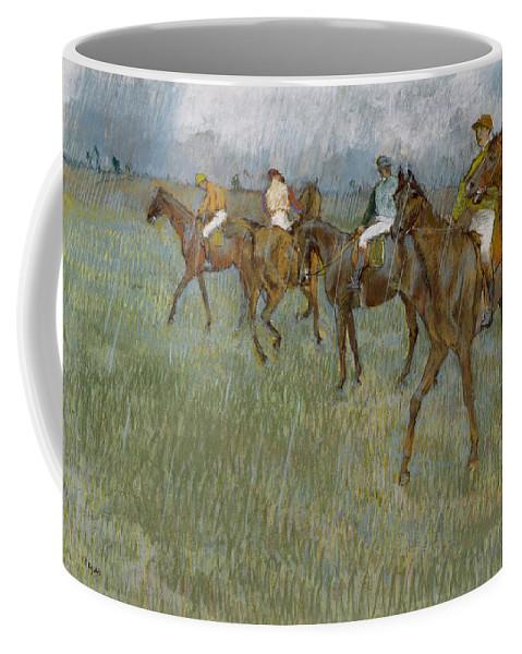 Horse Coffee Mug featuring the drawing Jockeys In The Rain, 1886 by Edgar Degas