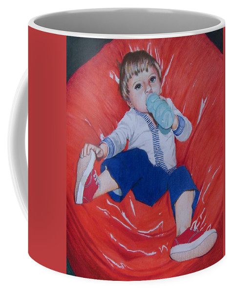 Boy Coffee Mug featuring the mixed media Joey by Constance Drescher