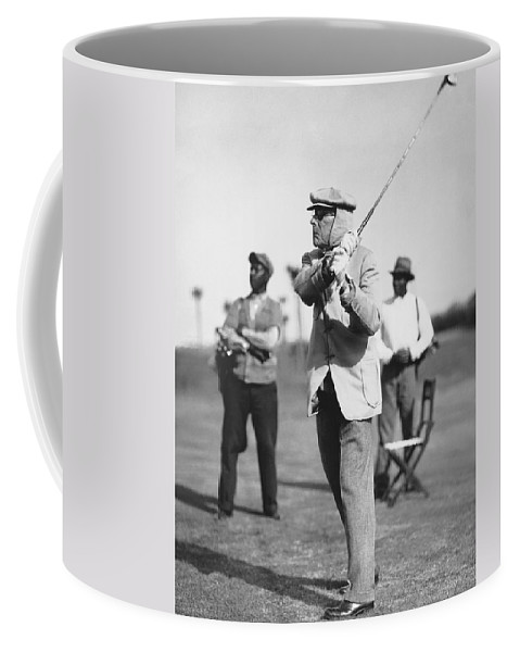 1932 Coffee Mug featuring the photograph John D. Rockefeller Golfing by Underwood Archives