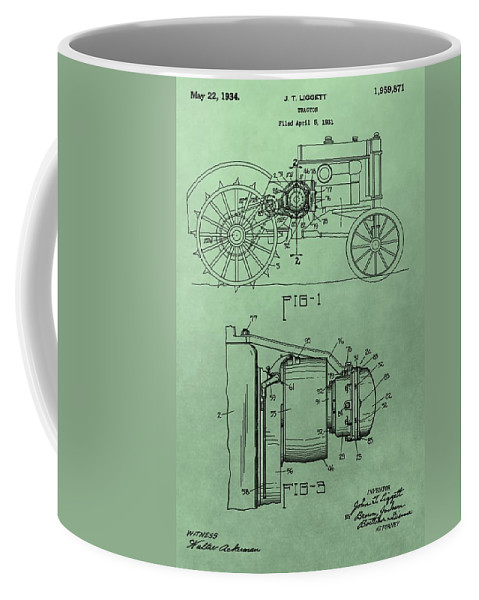 John Deere Tractor Patent Coffee Mug featuring the digital art John Deere Tractor Patent by Dan Sproul
