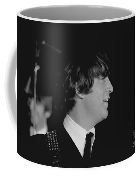 Beatles Coffee Mug featuring the photograph John Lennon, Beatles Concert, 1964 by Larry Mulvehill