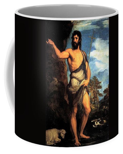 Venice Coffee Mug featuring the painting John The Baptist by Tiziano Vecellio