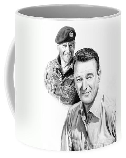 John Wayne Coffee Mug featuring the drawing John Wayne by Peter Piatt
