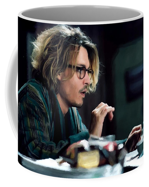 David Koepp Films Coffee Mug featuring the digital art Johnny Depp as Mort Rainey @ Secret Window by Gabriel T Toro