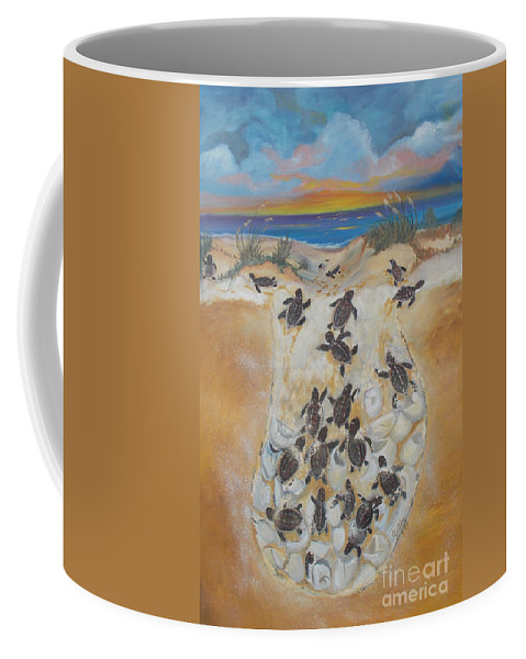 Logger Head Turtle Coffee Mug featuring the painting Journey To The Millenium by To-Tam Gerwe
