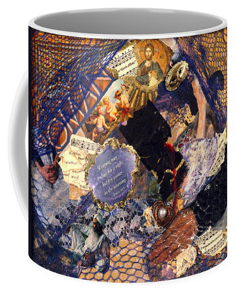 Collage Coffee Mug featuring the mixed media Joy In The Morning by Gail Kirtz