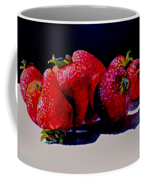 Berries Coffee Mug featuring the painting Juicy Strawberries by Sher Nasser